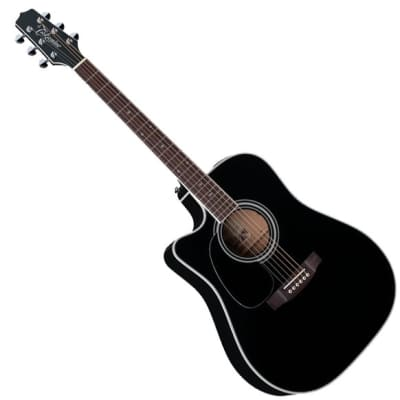 Takamine EF341SC Left-Handed Dreadnought Acoustic-Electric Guitar - Black
