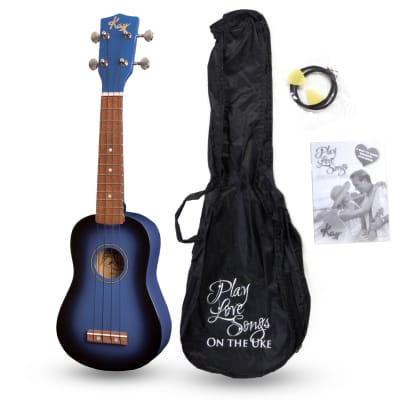 Kay U12PBLS Blue Sunburst Soprano Ukulele Package (Free Shipping) for sale