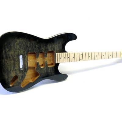 E-Gitarren Bausatz / Guitar DIY Kit ML-Factory® MLS transp. Black Mahagoni/Ahorn ohne Hardware for sale