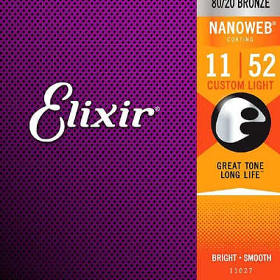 10 Sets Elixir 11027 Nanoweb 80/20 Bronze Acoustic Guitar Strings - Custom Light (11-52)