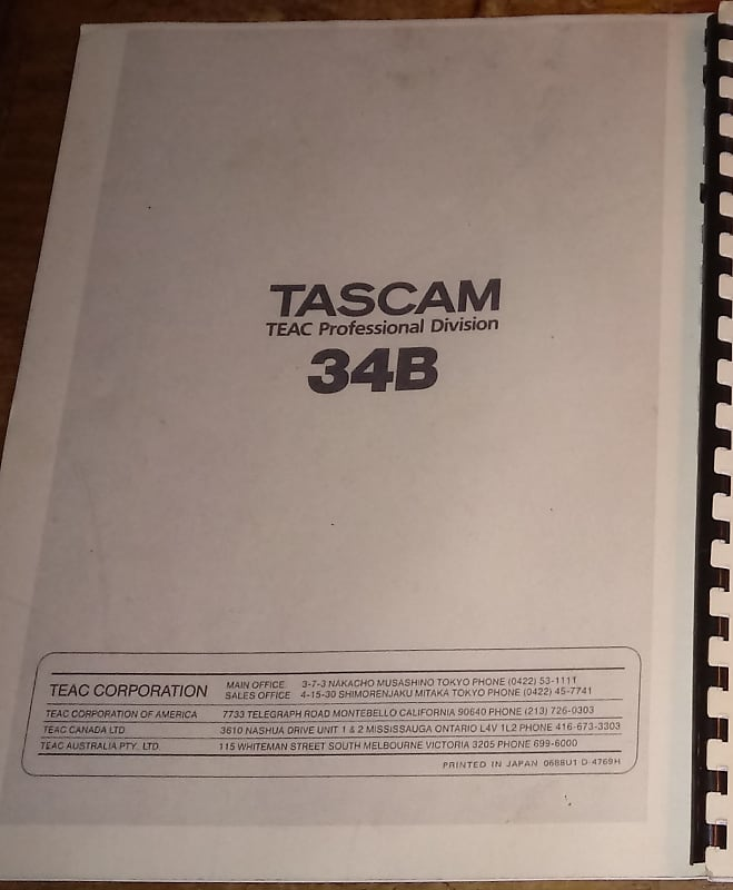 TASCAM 34B Service Manual  Original Manufacturer's Document, Not a Copy