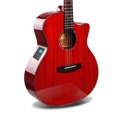 Acoustic Electric Guitar Built in Tuner Solid Top Mahogany Red PPL6873 for sale