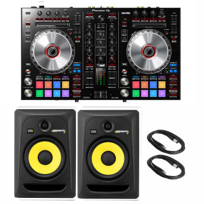 Pioneer DJ DDJ-SR2 Portable 2-Channel Controller for Serato DJ. With KRK ROKIT  RP8G3 Studio Monitor Pair and Cables Bunddle.