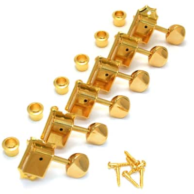 TK-0880-002 Gotoh Gold 6 Inline Round Button Vintage Guitar Tuners for sale