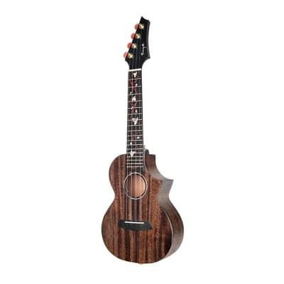 Enya M6 Black Solid Mahogany Concert Acoustic-Electric  Ukulele with Case