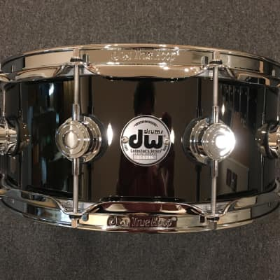 """DW 5.5x14"""" Collector's Series Black Nickel over Brass Snare Drum w/ Chrome Hardware"""