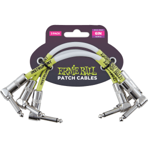 "Ernie Ball P06051 6"" Angled to Angled Patch Cables (3-Pack)"
