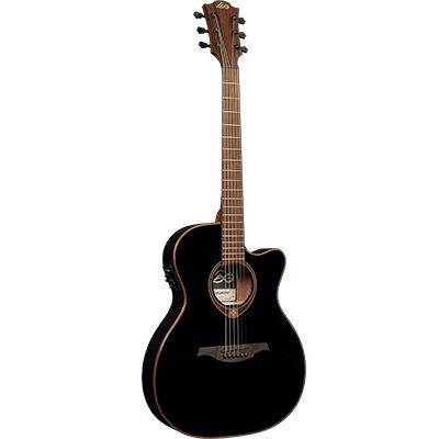 LAG T118SASCE BLK Auditorium Slim Body Black Solid Top Red Cedar Electro Cutaway Acoustic Guitar for sale