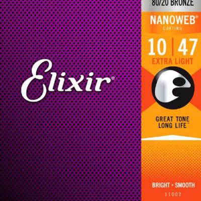 Elixir Strings 11002 Acoustic 80/20 Bronze with NANOWEB Coating, Extra Light .010-.047