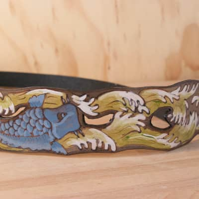 Moxie & Oliver Koi Swim Leather Guitar Strap 2015 Olive and Blue