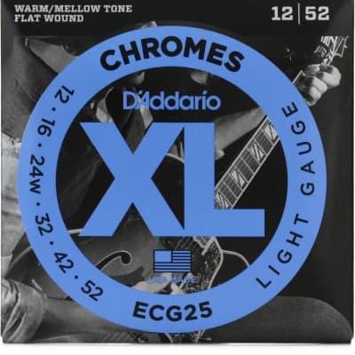 D'Addario ECG25 Chrome Flatwound Electric Guitar Strings 12-52