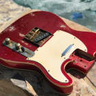 Real Life Relics Loaded Tele Telecaster Body Aged Candy Apple Red Double Bound image