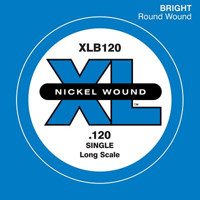 D'Addario XLB120 Nickel Wound Long Scale Single Bass Guitar String, .120