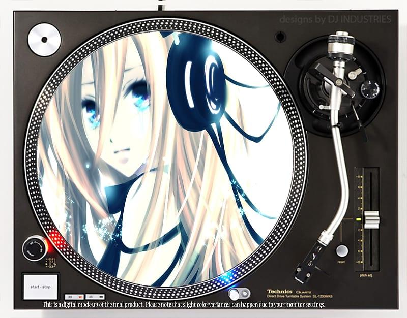 DJ Industries Headphone Girl Anime - DJ slipmat for vinyl LP record player  turntable