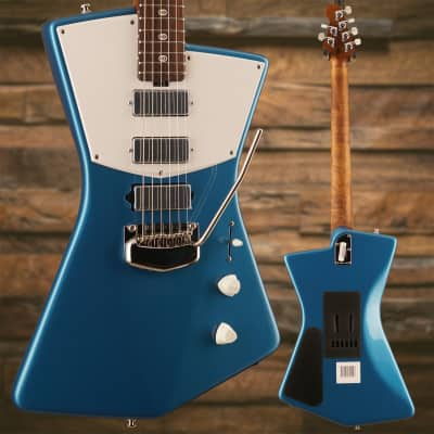 Ernie Ball Music Man St. Vincent Blue, Figured Roasted Maple/Rosewood, White for sale