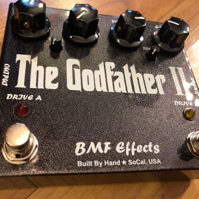 """BMF """"The GodFather II""""- Dual Overdrive Pedal -Silver & Black Sparkle(new in box)"""