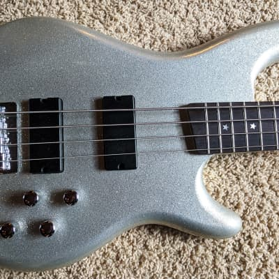 Daisy Rock 4 String Bass Guitar (DR6772-A-U), Silver Sparkle, Lightweight, Easy On Hands for sale