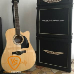Ibanez AW70ECE Solid Top Dreadnought Cutaway Acoustic-Electric Guitar Natural