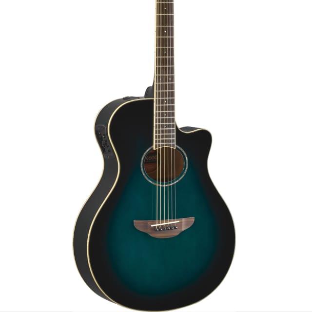 Yamaha APX600 OBB Thin Body Acoustic-Electric Guitar, Oriental Blue Burst image