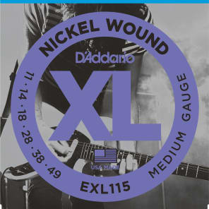 D'Addario EXL115 Nickel Wound Electric Guitar Strings Medium/Blues-Jazz Rock 11-49
