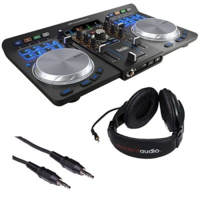 Hercules Universal DJ Bluetooth DJ Software Controller with R100 Stereo Headphones & Mini Male to Stereo Mini Male Cable (Black) 3'