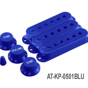 AxeTec Parts Replacement Strat Guitar Knob, Selector & Pickup Cover Set For Fender Stratocaster Blue