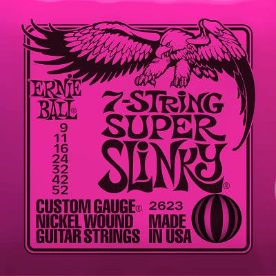 Ernie ball Slinky Nickelwound 7 String Super Slinky Guitar Strings 9 - 52 for sale