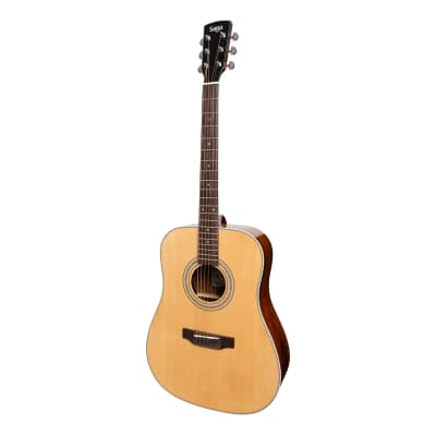 Saga '850 Series' Solid Spruce Top Acoustic-Electric Dreadnought Guitar (Natural Gloss) for sale