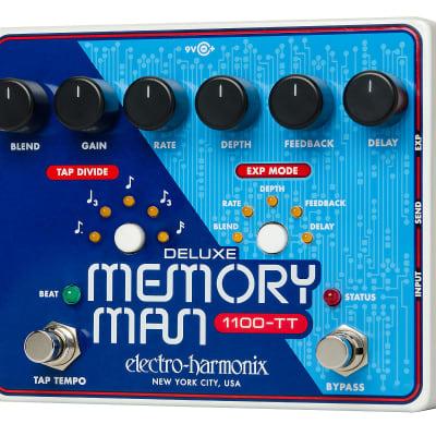 Electro-Harmonix DELUXE MEMORY MAN 1100-TT Tap Tempo 1100mS Analog Delay, 9.6DC-200 PSU incl.