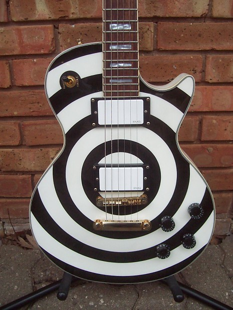 Epiphone Zakk Wylde Les Paul Custom 2008 White EMG Pups Flamed Maple Neck W  Case ~# Counterfeit ! #~
