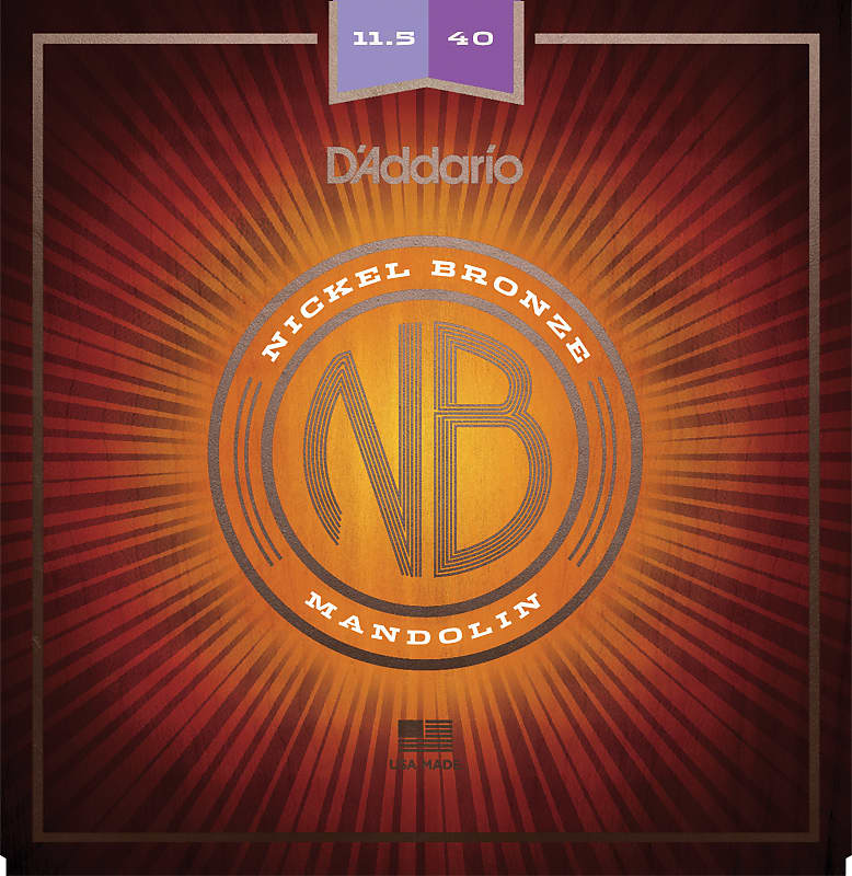 D'Addario NBM11540 Nickel Bronze Mandolin Set, Custom Medium, 11.5-40