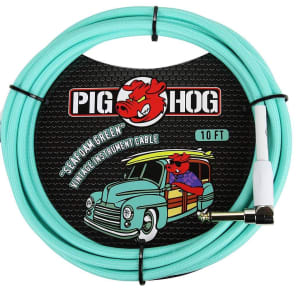 """Pig Hog PCH10SGR Vintage Series 1/4"""" TS Straight to Right-Angle Instrument/Guitar Cable - 10'"""