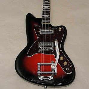 Silvertone Silvertone Reissue Model 1478 Electric Guitar Gloss Red Silver Flake Burst 2017 Gloss Red for sale