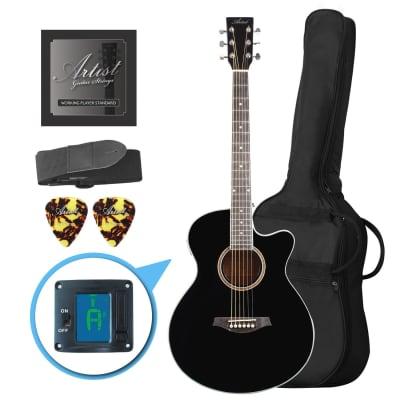 Artist LSPSBK Small Body Beginner Acoustic Guitar Pack Black for sale
