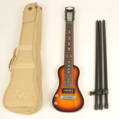 SX Left Handed Electric Lap Steel Guitar with Bag & Stand Lap 2 Ash 3TS for sale