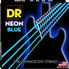 DR NBB-45 4 string Hi-Def Neon Blue Coated Bass Guitar Strings 45-105 MED 2016 Neon Blue image