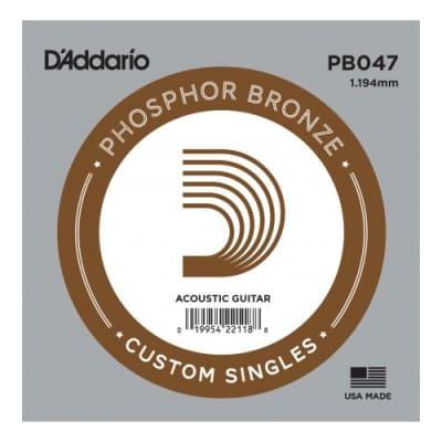 D'Addario PB047 Phosphor Bronze Single Guitar String .047