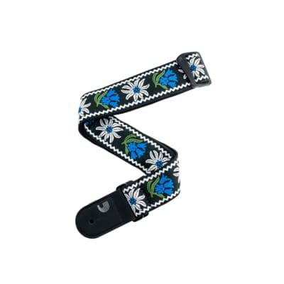 D'Addario Peace Love Guitar Strap - Black Blue Green Floral