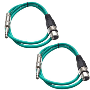 "Seismic Audio SATRXL-F3-GREENGREEN 1/4"" TRS Male to XLR Female Patch Cables - 3' (2-Pack)"