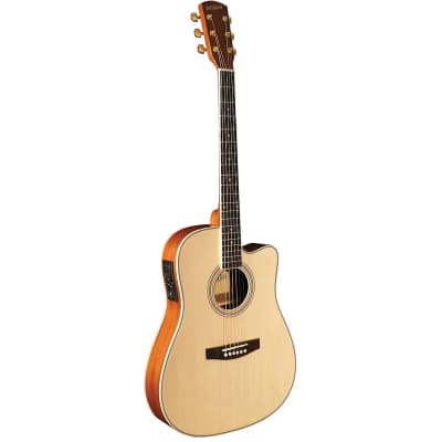 Indiana I-TB2N Thin Body Dreadnought Cutaway Spruce Top 6-String Acoustic Electric Guitar Natural for sale