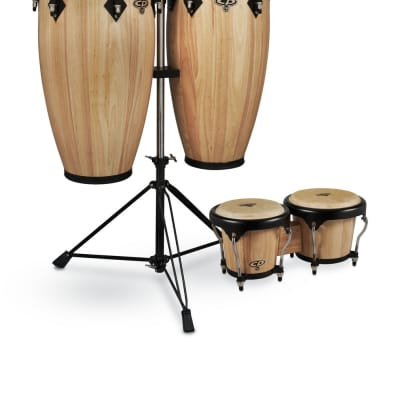 CP by LP 11-inch and 11 3/4-inch Conga Set with Double Conga Stand and Free Bongos - Natural  CP656-AWB
