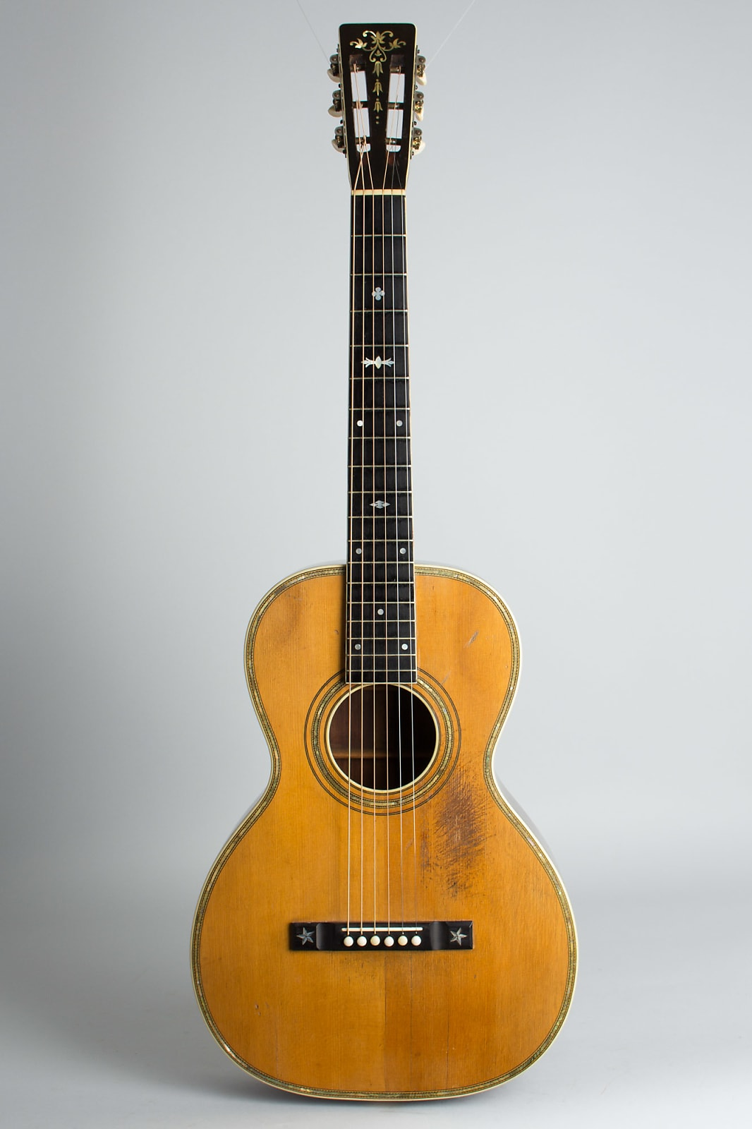 Wm. Stahl Solo Style # 8 Flat Top Acoustic Guitar,  made by Larson Brothers,  c. 1926, ser. #32540, black hard shell case.