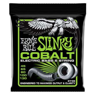Ernie Ball Bass 5 Slinky Cobalt Electric Bass Strings - 45-130 Gauge