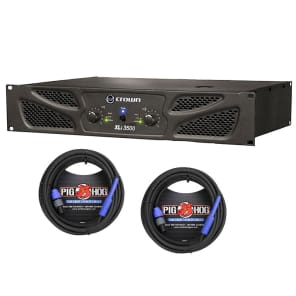 Crown XLi 3500 Power Amp & 2 Pig Hog 25ft SPKON to 1/4\' Cables Bundle for sale