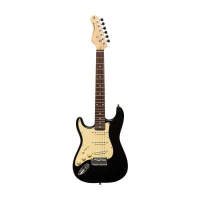 Stagg Left-Handed 3/4 Electric Guitar - Brilliant Black - SES-30 BK 3/4LH