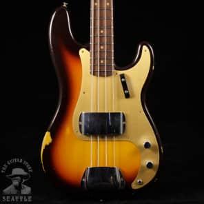 Fender Custom Shop '59 Relic Precision Bass Faded Chocolate Three Tone Sunburst CZ530186