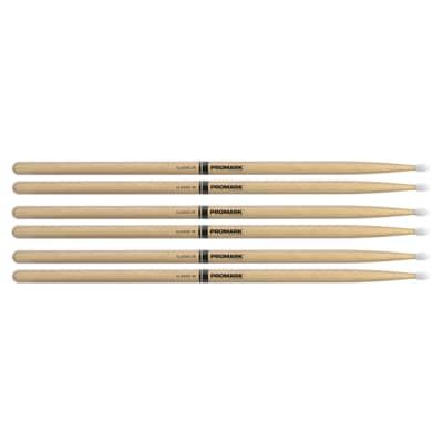 Promark American Hickory 7A Nylon Tip Drum Sticks (3 Pair Bundle)