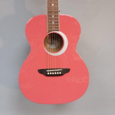 Luna Aurora Borealis 3/4 Acoustic Guitar Pink for sale
