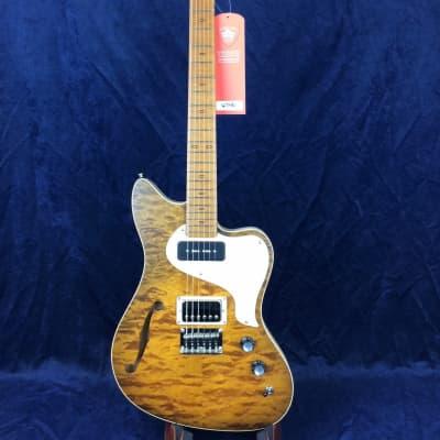PJD Guitars St John Elite in Caramel Burst with F-Hole and Bareknuckle Pickups for sale