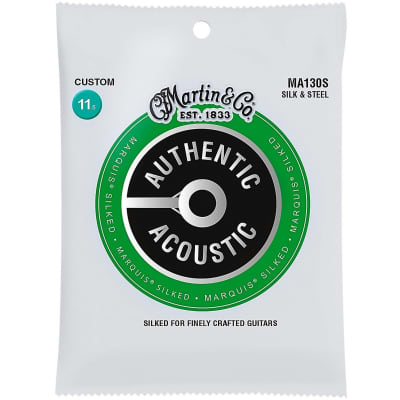 Martin MA130S Authentic Acoustic Marquis Silked Guitar Strings, Silk and Steel, Custom 11.5-47